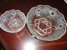 VINTAGE SET/ 2 WALTHER GLASS CRYSTAL GERMANY 1 ROUND LARGE SERVING 1 SMALL BOWL