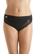 Ladies Combed Cotton & Lace High Leg Stretch Brief Pants Knicker Underwear 3pack Uk18/eu46 Black