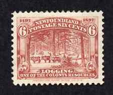 Newfoundland #66 6 Cent Red Brown Logging Discovery of Newfoundland Issue MH