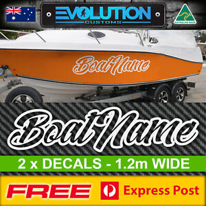 2 x Boat Name Stickers Decals 1.2m Wide Letters Numbers Marine Custom Rego