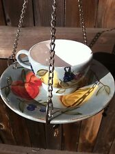 Cup And Saucer Bird Feeder Blue Fruit Grapes Silver Chain