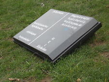 Open book engraved personalised headstone grave  black