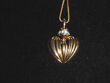 VTG Gold Tone CZ Cubic Zirconia Encrusted Heart Dangle Necklace