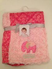 Blankets And & Beyond Baby Girl Blanket Pink Rosette Damask Patchwork Elephant