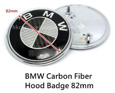 BMW 82mm BLACK CARBON FIBER HOOD/TRUNK ROundel Badge EMBLEM - NEW