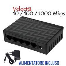 Switch ethernet 5 porte RJ45 10 / 100 / 1000 Mbps Switch di rete Hub di rete LAN