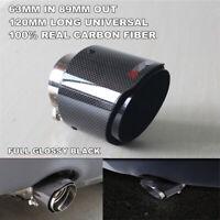 63-89mm Car Exhaust Muffler Tip Pipe Universal Black Glossy Carbon Fiber Pipe 1X