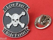 Live Fast Ride Faster Lapel Hat Cap Tie Pin Badge Biker Skull Crossbones Brooch