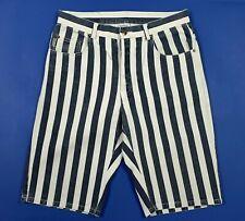 Repair shorts bermuda jeans uomo usato W33 tg 47 denim righe strisce used T5720