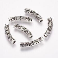 10pcs Tibetan Style Tube Beads Metal Spacer Jewellery Findings 38x8mm