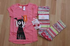 NWT GIRLS GYMBOREE SZ 4 SHIRT, STRIPED LEGGINGS, HAIR CLIPS PLAY BY HEART