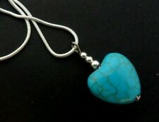 "A PRETTY TURQUOISE HEART  PENDANT NECKLACE. 18"" CHAIN. NEW."