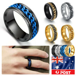 10 Colors Men's Titanium Stainless Steel Emboss Grooved Spin Chain Band Ring
