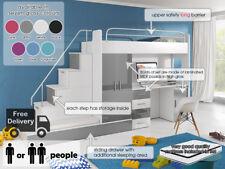 MODERN LOFT SET BUNK BED KIDS YOUTH WARDROBE DESK BED WITH MATTRESSES EDEN 5
