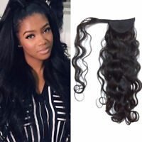 80G Wavy Human Hair Ponytail Combs-on 100% Remy Human Hair Extensions 15-24inch
