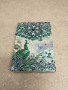 Punch Studio Box 10 Notecards & Envelopes Embellished Peacock New Old Stock
