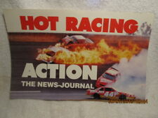 Vtg. Daytona Beach FL News-Journal Newspaper Poster Photo of NASCAR Cars on Fire