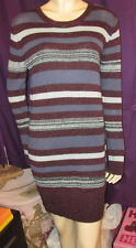 NWT Abound PURPLE + BURGUNDY Multi LONG SLEEVES Striped SEXY Sweater Dress L