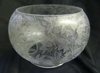 Antique Etched Glass Gas Lamp Shade Spider Webs, Woman, and Floral Decoration