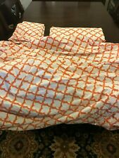 Pottery Barn Queen Orange and White Bed Set (Fixed Sheet, Flat Sheet, 2 Pillow C