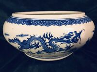 "Chinese Blue & White Two Dragons & Fire Pearl Fish Bowl Jardiniere Planter 10""D"