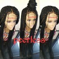 Fully hand braided lace closure box braid wig with baby hair color 1(28inch)
