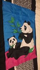 """Beautiful New Embroidered Panda and Baby Bear House Flag 40"""" x 28"""" 3x"""