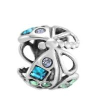 Genuine CHAMILIA 925 Silver & Swarovski, BLUE DRAGONFLY Bead Charm RRP £40