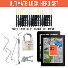 Premium 24 Piece Lock Set with Practice Lock and 2 Free Guide ebooks.
