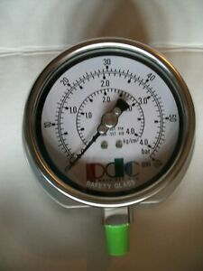 "0-60 PSI  Air Pressure Gauge 1/4 NPT 3-1/4"" face Surface Mount Stainless Steel"