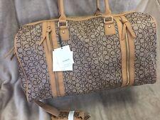 NEW Calvin Klein CK Monogram Logo Yarmouth Tan Brown Duffle Bag Luggage Carry On