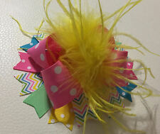 Multicolor Over The Top Ostrich Feather Boutique Hair Bows