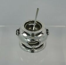 Japanese Asahi Sterling Hibachi Stove Salt Cellar - Glass Liner & Sterling Spoon