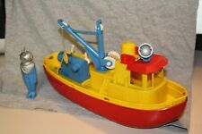 "VINTAGE PLASTIC TOY IDEAL SALVAGE SHIP W/ DEEP SEA DIVER 15"""