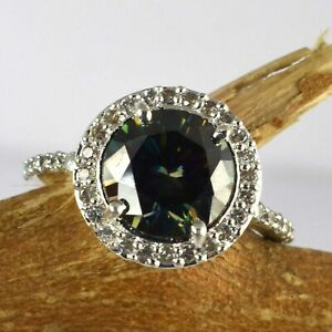 Free Certificate 5.44 Ct Green Diamond Solitaire Elegant Look Ring With Accents