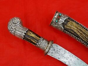 ANTIQUE TIBETAN / MONGOLIAN SILVER DAGGER REAL CORALS TURQUOISE STAG HORN sword