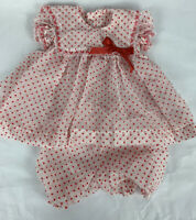 Vintage Swiss Dot Baby Dress And Bloomers 80's Red Polka  Dot 0-3M
