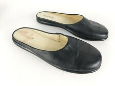 Eva Lopez Black Leather Mules Sandals Uk 6 Eu 39