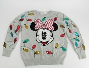 Women's Disney Minnie Mouse Gray Sequin Holiday Cheer Sweater Size Small