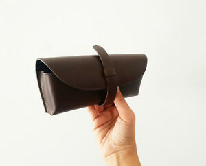 Brown Leather Glasses Case Premium Quality Case with Matching Cleaning Cloth