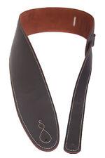 Gitarrengurt innen feinstes Wildleder rostrot, außen Glattleder schwarz