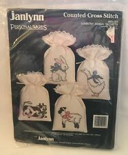 Janlynn Cross Stitch Kit Country Animals Sachets Cow Bunny Goose Bags #50-151