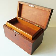 Antique WOOD DOCUMENT LOCK BOX w/ TRAY