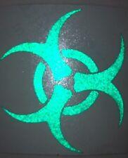 Green Reflective Biohazard Motorcycle Helmet Sticker Decal Vinyl Laptop 16-17