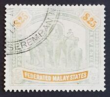 1904 Federated Malay states used $25 wmk Mult. Crown CA SG51 CV£850