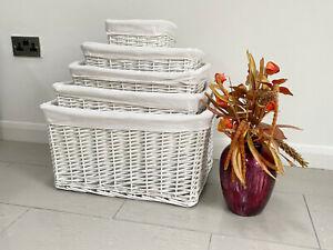 White Shabby Chic Extra Large Wider Big Wicker Storage Kitchen Toy Hamper Basket