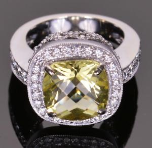 Stunning Olive Green 3.62CT Lemon Topaz With Bright White CZ Halo Wedding Ring