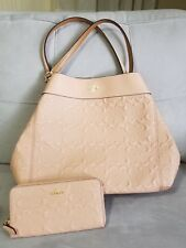 Coach Lexy Signature Embossed Nude Pink Leather Bag & Wallet F25954 F27865 $760