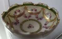 Antique Handpainted Nippon Footed Bowl Cabbage Roses and Golden Swags ruffled