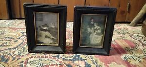 Pair of Antique Vintage Primitive Early Style Small Pictures w/Black Frame 4.75""